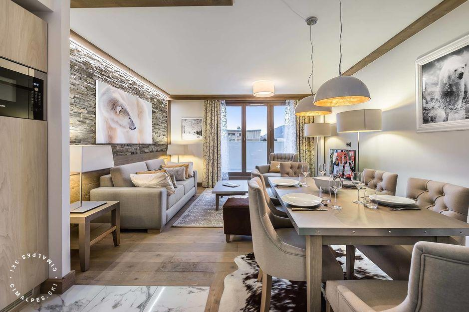 salon contemporain - appartement 371 résidence Carré Blanc - Courchevel Village