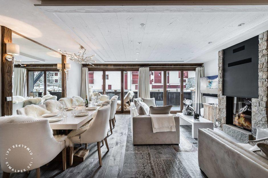 Salon blanc - Appartement La Canadienne 3 - Val d'Isère