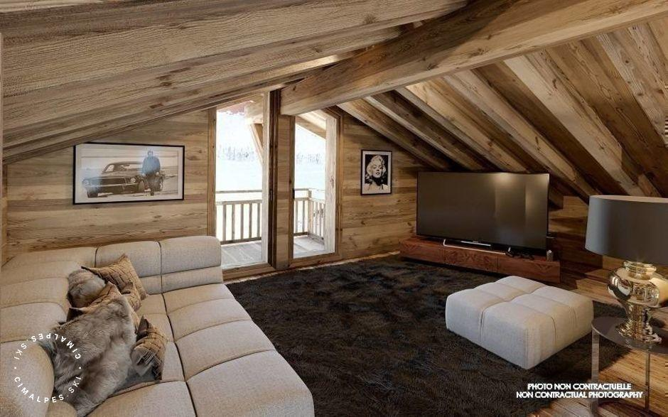 Mezzanine et salon TV - Chalet Pure Black Crystal - Saint Martin de Belleville