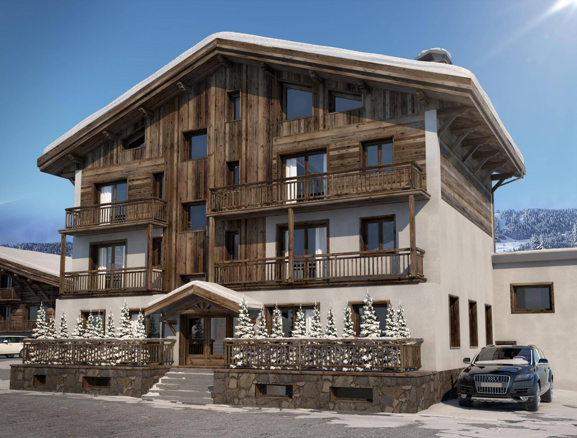 CROSSING APARTMENT IN NEW RESIDENCE CLOSE TO THE CENTER OF MEGÈVE